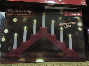 7LED Battery Operated Wooden Candle Bridge Light Decoration Party Gift CHRISTMAS