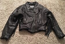 Legend Rider Wear Womens Leather Jacket With Fringes, Size XS