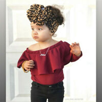 Girls Kids HeadBands Baby Leopard Toddler Turban Bow Knot Headpieces Hairband