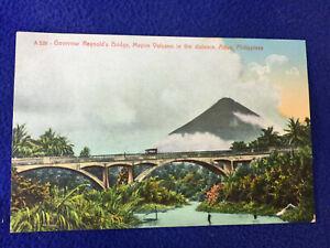 vintage POSTCARD philippines GOVERNOR REYNOLD'S BRIDGE mayon volcano ALBAY car