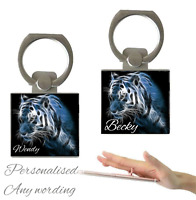 Personalised Name Holographic Tiger Finger Holder Ring 360° Grip Mobile Phone