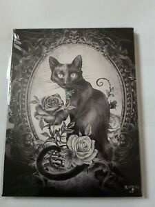 Small canvas ' The Philosopher's Familiar' by Alchemy   black cat  roses