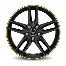 "OEM NEW 19"" Front Wheel Rim Black w/ Yellow Stripe 2014-2018 Corvette 19302119"