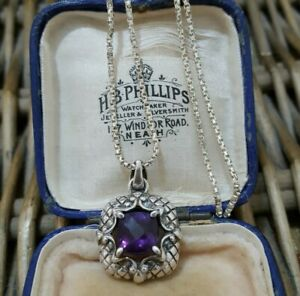 """ROSS SIMONS Sterling Silver Necklace Pendant ,Natural Amethyst, 18"""" Silver Chain"""