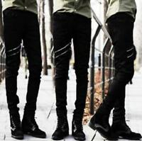 Men Punk Zipper Decor Hip Hop Skinny Slim Fit Pants Street Leisure Long Trousers