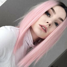 Synthetic Ombre Pink Bob Hair Short Straight Dark Roots Wigs Women Fashion Wig
