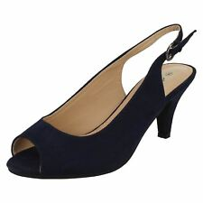 Ladies Navy Suedette Wide Fitting Anne Michelle Sling Back Shoes F1R0593