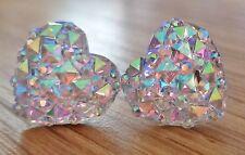 Small Sparkly Ab Heart Crystal Diamante Diamond Stud Earrings