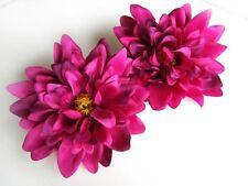 "2X Artificial Silk Purple Dahlia Flower Head 4"" for Home Wedding decoration Clip"