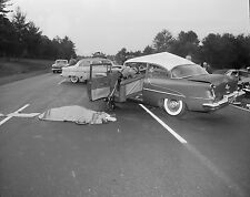 1955 Olds Crashes Head On with 53 Ford fatel Accident 8 x 10 Photograph