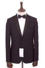 Men's Black Slim Fit Tuxedo Dinner Suit Limehaus 38R W32 L31