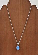 Austrian Blue Crystal Pendant Necklace Rhinestone Accent Silver-Tone Chain