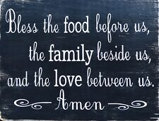 """TIN SIGN """"Bless Food Love"""" Quotes Signs  Rustic Wall Decor"""
