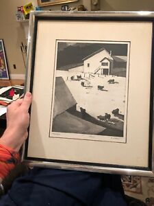 Reginald ?  R Marsh original lithograph Framed great gift idea Farm Farmyard