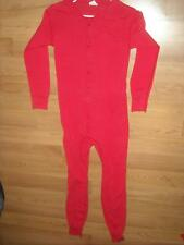 Vtg Mens Medium Red Button Long John Thermal Underwear Long Sleeve Unionsuit 2