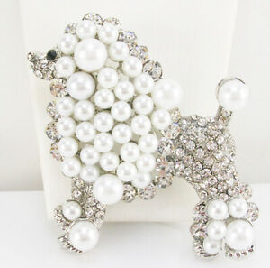 """Kenneth Jay Lane Poodle Broach  3 """"  silver  tone  WHITE  PEARLS"""