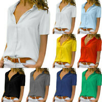 Women's Summer Short Sleeve Button Down Blouse Solid Tops Loose Casual Shirt USA