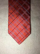 TOMMY HILFIGER MENS TIE 3.5 X 60 ORANGE WITH RED BLUE AND STRIPES