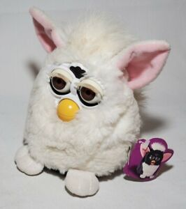 (READ) Tiger 1998 Furby Interactive Toy Snowball White Brown Eyes W/ TAGS 70-800