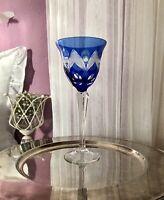 Antik Alt Edel Weinglas Römer Kristallglas geschliffen Blau Überfangglas Glas