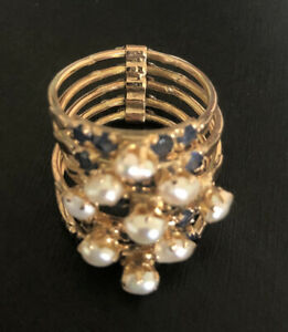 14k Harem  gold pearl and sapphire ring-5 Bands.