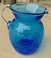 """Vintage Hand Blown Bright Blue Crackle Glass 5"""" Tall Pitcher with Clear Handle"""