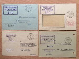 # DDR - 4 ZKD Heimatbelege Briefe v. 1964-1966 aus Cottbus