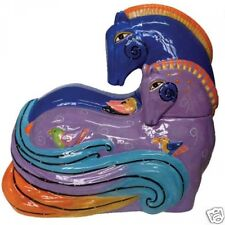 Laurel Burch Aquatic Mares Horses Purple Blue Ceramic Cookie Jar  #26026 New