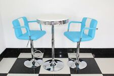 American 50s Diner Furniture Blue  Bistro Set Table And 2 Stools With Arms