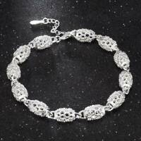 925 Sterling Solid Silver Chain Hollow Bracelets For Women's Jewelry Fashion