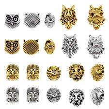 20pcs Silver/Gold Dragon Lion Buddha Owl Beads Loose Spacer Beads DIY Findings