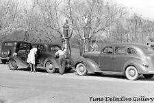 Cars at Texaco Gas Pumps, Weslaco, Texas - 1942 - Historic Photo Print