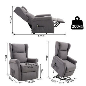 Fabric Electric Power Rise and Recline Riser Recliner Mobility Lift Grey Chair