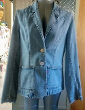 Vintage Women's Levi's Denim Faded Blue Blazer 2 Button LS Large