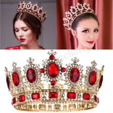 "6.7"" Wide Large Ruby Red Crystal Gold King Crown Wedding Prom Party Pageant"