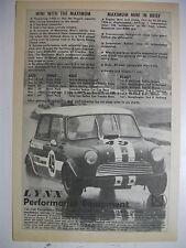 1968 LYNX PERFORMANCE MINI COOPER SPORTS SEDAN AUSTRALIAN MAGAZINE ADVERTISEMENT