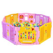 Outdoor 8 Panel Baby Playpen Kids Home Indoor Safety Lock Play Center Yard Pink