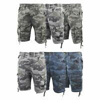 Mens Crosshatch Chinos Camo Cargo Shorts Combat 3/4 Knee Length Jimster