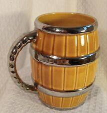 More details for vintage wade large ceramic tankard barrel pint mug silver bands 5