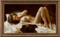 "Original Oil Painting female art nude girl on canvas 24""x40"""