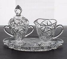VTG Brilliant Pinwheel Cut Crystal Footed Cream & Sugar Set w/Underplate MINT