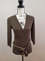 Ann Taylor Long Sleeve Deep V Neck Blouse with Belt Brown/Gold Womens Sz XS NWOT