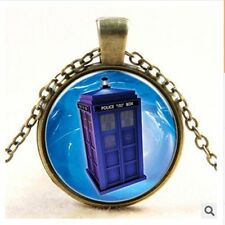 Doctor Who phone booth space shuttle time gem bronze pendant necklace