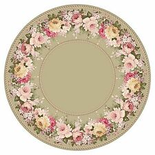 Dollhouse Miniature Pink Floral Round Circle Iron On Fabric Rug 1:12 or Any Size