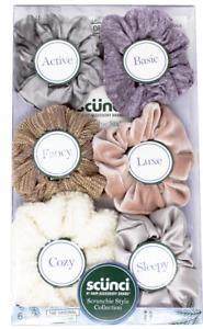 Scunci Original Scrunchie Hair Elastics Style Box, 6 Count