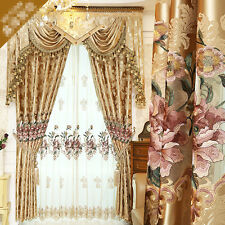 European luxury hollow embroidered gold color cloth blackout curtain E729
