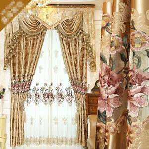 European luxury hollow embroidered gold color cloth blackout curtain