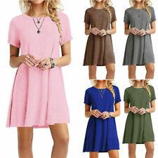 Womens Mini Short Sleeve T Shirt Dress Plus Size Beach Sundress A Line Dress US