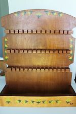 VINTAGE WOODEN 42-SPOON DISPLAY WALL RACK HOLDER COLLECTIBLE SOUVENIR SPOONS