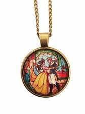 """Disney's Beauty And The Beast Glass Dome PENDANT on 20"""" Chain STUNNING!!!"""